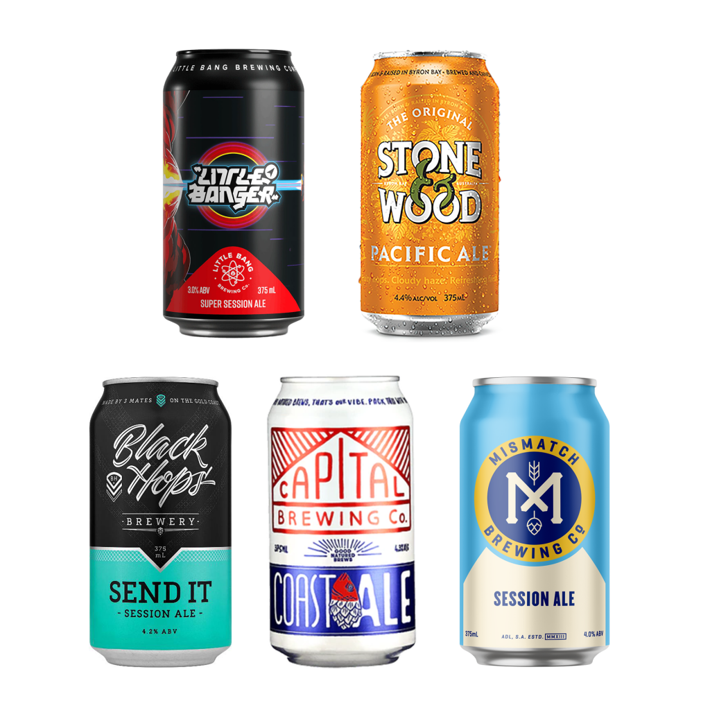 <p>When you've got all afternoon, but want to take it slow, make it a session.</p><p><br>These easy-going ales are lower on ABV without sacrificing flavour. They're worth your time.</p><p><br>4 x Black Hops Send It Session Ale Cans 375 ml</p><p>4 x Little Bang Little Banger Super Session Ale 375 ml</p><p>4 x Stone &amp; Wood Pacific Ale Cans 375 ml</p><p>6 x Mismatch Brewing Co Session Ale Cans 375 ml</p><p>6 x Capital Brewing Co Coast Ale Cans 375 ml</p>