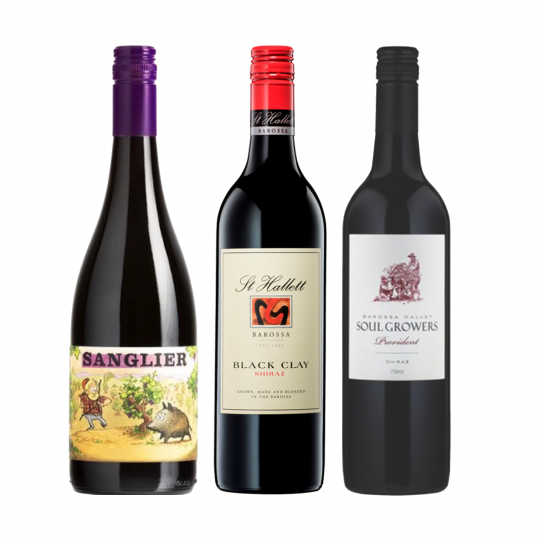 """<p dir=""""ltr""""><span>For those that love South Aussie Shiraz in particular, (who doesn't!?) here you will find three handcrafted wines that are good for the soul.&nbsp;<br><br></span></p><p dir=""""ltr""""><span>Each are solid representations of the best Shiraz across SA's famous regions. So if SA Shiraz is your thing, this will be a great armchair tour of the regional flavours.<br><br></span></p><p>1 x Sanglier Syrah, Adelaide Hills, SA</p><p>1 x Hither &amp; Yon Shiraz, McLaren Vale, SA&nbsp;</p><p>1 x St Hallet 'Black Clay' Shiraz, McLaren Vale, SA</p>"""