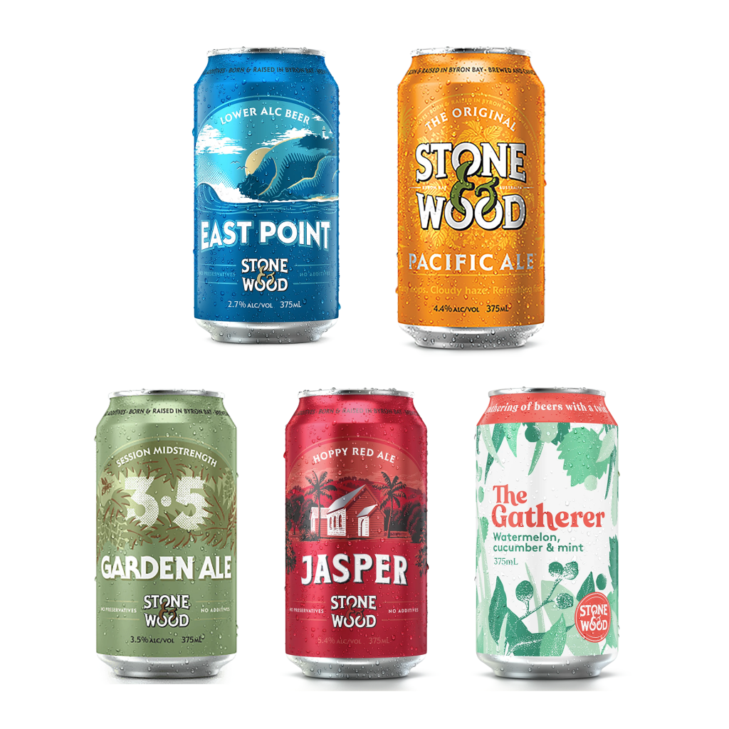"""<p style=""""font-weight: 400;"""">Beers by independent brewery Stone &amp; Wood are inspired by their home and community in the Northern Rivers of NSW.&nbsp;</p><p style=""""font-weight: 400;"""">&nbsp;</p><p style=""""font-weight: 400;"""">Committed to using beer as a force for good, they brew using the best quality ingredients while continually working to reduce their environmental footprint.&nbsp;</p><p style=""""font-weight: 400;"""">&nbsp;</p><p style=""""font-weight: 400;"""">This mixed tinnie pack combines the Original Pacific Ale, their hoppy red ale Jasper and their full-flavoured mid-strength Garden Ale.</p><p style=""""font-weight: 400;"""">&nbsp;</p><p>4 x&nbsp;<span data-sheets-value=""""{&quot;1&quot;:2,&quot;2&quot;:&quot;Stone &amp; Wood Garden Ale Cans : 375 ml&quot;}"""" data-sheets-userformat=""""{&quot;2&quot;:15041,&quot;3&quot;:{&quot;1&quot;:2,&quot;2&quot;:&quot;#,##0&quot;,&quot;3&quot;:1},&quot;9&quot;:0,&quot;10&quot;:2,&quot;12&quot;:0,&quot;14&quot;:{&quot;1&quot;:2,&quot;2&quot;:16711680},&quot;15&quot;:&quot;Arial&quot;,&quot;16&quot;:8}"""">Stone &amp; Wood Garden Ale 375 ml</span></p><p>4 x <span data-sheets-value=""""{&quot;1&quot;:2,&quot;2&quot;:&quot;Stone &amp; Wood Jasper Ale Cans 1 : 375 ml&quot;}"""" data-sheets-userformat=""""{&quot;2&quot;:15041,&quot;3&quot;:{&quot;1&quot;:2,&quot;2&quot;:&quot;#,##0&quot;,&quot;3&quot;:1},&quot;9&quot;:0,&quot;10&quot;:2,&quot;12&quot;:0,&quot;14&quot;:{&quot;1&quot;:2,&quot;2&quot;:16711680},&quot;15&quot;:&quot;Arial&quot;,&quot;16&quot;:8}"""">Stone &amp; Wood Jasper Ale 375 ml</span></p><p><span data-sheets-value=""""{&quot;1&quot;:2,&quot;2&quot;:&quot;Stone &amp; Wood Jasper Ale Cans 1 : 375 ml&quot;}"""" data-sheets-userformat=""""{&quot;2&quot;:15041,&quot;3&quot;:{&quot;1&quot;:2,&quot;2&quot;:&quot;#,##0&quot;,&quot;3&quot;:1},&quot;9&quot;:0,&quot;10&quot;:2,&quot;12&quot;:0,&quot;14&quot;:{&quot;1&quot;:2,&quot;2&quot;:16711680},&quot;15&quot;:&quot;Arial&quot;,&quot;16&quot;:8}"""">4 x Stone &amp; Wood East Point 2.7% 375ml</span></p><p><span da"""