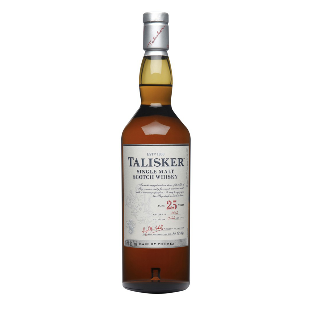 """<p>They say, <em>""""The 2017 release of Talisker's excellent 25-year-old whisky continues the reputation for greatness. Carefully balancing the distillery's seaside, salt and pepper character against elegant oak and delicate fruity notes, it's a masterclass in ageing with a delightfully old-fashioned air. Nose: Seaweed and old oranges, with smoke in the distance and some chalk. Surprisingly fruity and juicy, although with clear Talisker identity. Palate:&nbsp;Sweet and meek to start, with some acidity and saltiness. Extraordinary flavour development. Becomes dry, stony, minerally, dusty, toasty. Ground white pepper. Chillies.&nbsp;Medium to long finish, slightly bitter, drying finish with a warming effect. Vegetal.""""</em></p><p>&nbsp;</p><p>Alluring, sweet, full-bodied single malt Scotch whisky from the oldest working distillery in the Isle of Skye. Talisker claim an unchanged distilling process over the last 175 years, maintaining that signature smoky sweetness and maritime notes. With whiskies aged up to 35 years, it's no wonder Talisker is considered premium. One for your top shelf.</p>"""