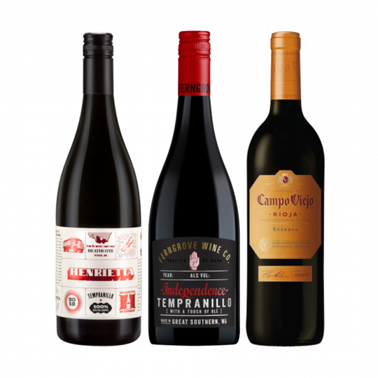 """<p dir=""""ltr""""><span>Tempranillo or temp-ran-ee-o for those unsure, is the perfect all rounder of red wines.&nbsp;<br><br></span></p><p dir=""""ltr""""><span>Bright fruit, pepper spice, fine tannin and a medium body. When in doubt, grab a tempranillo, it's guaranteed to please even the most indecisive among us.&nbsp;<br><br></span></p><p>1 x Kennedy 'Henrietta' Tempranillo, Heathcote, Vic</p><p>1 x Ferngrove 'Independence' Tempranillo, Great Southern, WA&nbsp;</p><p>1 x Campo Viejo Reserva Tempranillo, Rioja, Spain</p>"""