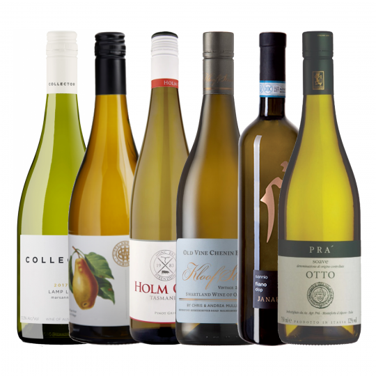 <p>Cold weather doesn't mean you have to stop enjoying white wines al together.&nbsp; This pack of deliciously tetural, and savourable unctuous beauties will go perfectly with a warm blanket by the fire.</p><p>Discover something new this winter.</p><p>1 x Cantine Pra Soave Classico Otto DOC 750ml<br>1 x Gippsland Wine Co Viognier 750ml<br>1 x Collector 'Lamp Lit' Marsanne 750ml<br>1 x La Guardiense Fiano 750ml<br>1 x Mullineux 'Kloof Street' Chenin Blanc 750ml<br>1 x Holm Oak Pinot Gris 750ml</p>