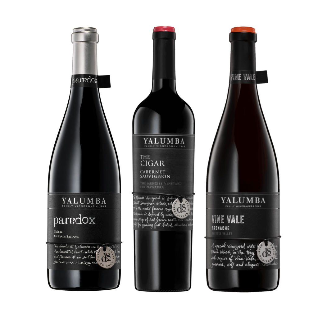 """<p>Yes, Yalumba are still a family owned wine business.&nbsp; Founded in 1849 and still going strong.<br><br></p><p>We have chosen to highlight the Distinguished Sites range from Yalumba.&nbsp; The wines in this range are meticulously sourced and expertly crafted.&nbsp; Each wine represents exceptional wine making, a sense of place and has a story to tell.&nbsp; We know you know Yalumba, but have you visited the Distinguished Sites?<br><br></p><p>Vine Vale Grenache:&nbsp;Grown in Barossa Valley Sandy Soils, Vine Vale Grenache is made with old vines in a vibrant style.</p><p>The Cigar Cabernet Sauvignon:&nbsp;The Cigar Cabernet Sauvignon is a medium to full bodied wine with rich fruit characters and soft round tannins.</p><p>The Paradox Shiraz:&nbsp;The Paradox Shiraz is not what you would expect from a wine from the warmest parts of the northern Barossa Valley.</p><p>&nbsp;</p><table style=""""width: 1351.33px;"""" cellspacing=""""0"""" cellpadding=""""0"""" dir=""""ltr""""><tbody><tr><td style=""""width: 1346.33px;"""" data-sheets-value=""""{&quot;1&quot;:2,&quot;2&quot;:&quot;Yalumba Paradox Shiraz : 750 Ml&quot;}""""> <div> <div>1 x Yalumba 'Paradox' Shiraz, Barossa Valley, SA</div> </div> </td> </tr><tr><td style=""""width: 1346.33px;"""" data-sheets-value=""""{&quot;1&quot;:2,&quot;2&quot;:&quot;Yalumba The Cigar Cabernet Sauvignon 6 Pack : 750 Ml&quot;}""""> <div> <div>1 x Yalumba 'The Cigar' Cabernet Sauvignon, Coonawarra, SA</div> </div> </td> </tr><tr><td style=""""width: 1346.33px;"""" data-sheets-value=""""{&quot;1&quot;:2,&quot;2&quot;:&quot;Yalumba Vine Vale Grenache 6 Pack : 750 Ml&quot;}""""> <div> <div>1 x Yalumba 'Vine Vale' Grenache, Barossa Valley, SA</div> </div> </td> </tr></tbody></table><p>&nbsp;</p>"""