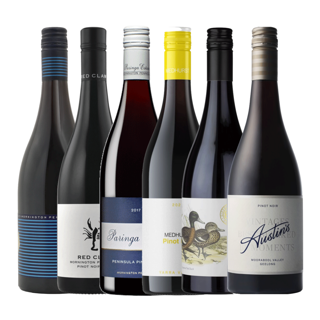 """<p>A pack highlighting damn good producers from key Aussie wine regions, these pinots show a sense of place - as any great pinot should. They're pinots with a point of difference, whether it's the growing style, the fermentation or the unique winemaking flair from a Young Gun Of Wine.</p><p>&nbsp;</p><p>A bit more nuanced and intricate than your introductory-level pinots, this is a bundle worth spending time with. Get to know pinot.</p><p>&nbsp;</p><p>&nbsp;</p><p>Quealy Mornington Peninsula, Vic Pinot Noir, Mornington Peninsula, Vic<br>Red Claw Pinot Noir , Mornington Peninsula, Vic<br>Paringa Estate Peninsula Pinot Noir , Mornington Peninsula, Vic<br>Medhurst Yarra Valley Pinot Noir, Yarra Valley, Vic<br>Gippsland Wine Co Pinot Noir , Gippsland, Vic<br>Austins Pinot Noir , Moorabool Valley, Vic</p><p>&nbsp;</p><p>&nbsp;</p><p><span data-sheets-value=""""{&quot;1&quot;:2,&quot;2&quot;:&quot;While we&#039;ll always try to provide you with exactly what&#039;s presented here, from time to time we do face issues with supply. In instances where we can&#039;t send exactly whats listed here, rest assured, any substitutions will be of equal or greater quality and in line with the spirit of the bundle.&quot;}"""" data-sheets-userformat=""""{&quot;2&quot;:513,&quot;3&quot;:{&quot;1&quot;:0},&quot;12&quot;:0}"""">While we'll always try to provide you with exactly what's presented here, from time to time we do face issues with supply. In instances where we can't send exactly whats listed here, rest assured, any substitutions will be of equal or greater quality and in line with the spirit of the bundle.</span></p>"""