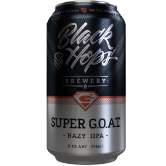 """<p><span>""""The only thing greater than the greatest.""""</span></p><p><br><span>A higher ABV version of our core range Hazy IPA, G.O.A.T.,&nbsp;</span><span class=""""il"""">Super</span><span>&nbsp;G.O.A.T. is a juice bomb that features the signature opaque appearance of the style, paired with an explosion of tropical fruit flavours thanks to the generous late addition of Mosaic, Amarillo and El Dorado hops.</span></p><p>&nbsp;</p>"""