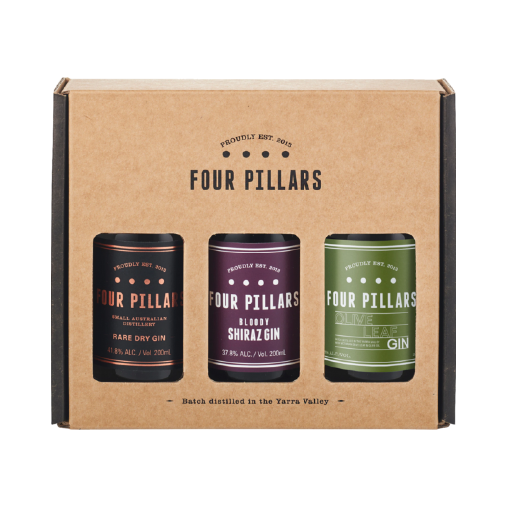 <p>Gin-decisive? We have a solution.&nbsp;</p><p>&nbsp;</p><p><span>If you can't decide which of our award-winning gins to choose, or want to give a gin lover&nbsp;</span><span>in your life a Four Pillars cocktail starter-pack, this is the perfect solution. Three 200ml bottles, packaged up and ready to gift: the original Rare Dry Gin, our Olive Leaf Gin, and delicious Bloody Shiraz Gin.</span></p><p>&nbsp;</p><p>1 x 200ml Rare Dry Gin</p><p>1 x 200ml Bloody Shiraz Gin</p><p>1 x 200ml Olive Leaf Gin</p><p>&nbsp;</p><p>Four Pillars has been slinging the finest gin outta Healesville since 2013. Specialist gins. Award-winning gins. Gins for every cocktail and straight-sippin' liquor-lover.</p>